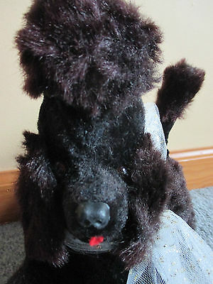 Vtg Japan Super 6TR transistor radio PLUSH dog black poodle WORKS Jestia #661