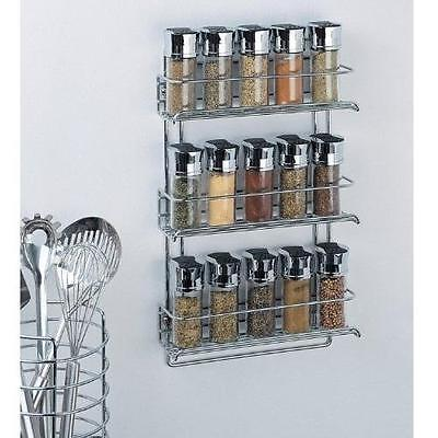 NEW Organize It All 3-Tier Wall-Mounted Spice Rack - Fine Chrome Finish(1812)