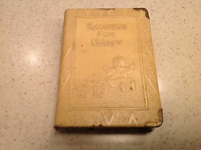 Vintage Antique Metal Baby First Saving Bank Book Zell Yellow Shaped Like a Book