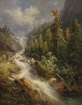 Huge oil painting beautiful landscape with stream crossing the mountains 36""