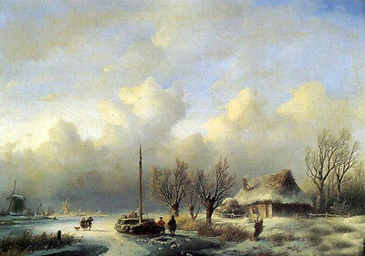 Handpainted Oil painting Figures in a winter landscape with village house people