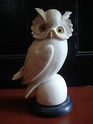 """Vintage GOLDEN CROWN E&R ITALY Signed A. GIANNELLI  Horned OWL Figurine 7 1/2"""""""