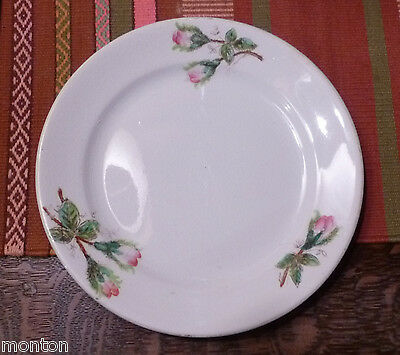 """antique J&G Meakin Hanley MOSS ROSE 9"""" LUNCH PLATE White Ironstone China ENGLAND"""