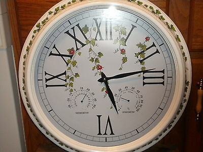 "WALL CLOCK 18"" WHITE GREEN IVY LEAVES LEAF ROUND WITH THERMOMETER & HYGROMETER"
