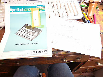 VINTAGE PANASONIC TAPE CASSETTE DECK RECORDER RS-261US OPERATING INSTRUCTIONS