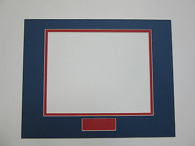 Picture Frame Double Mat 11x14 for 8x10 horizontal and nameplate  blue with red