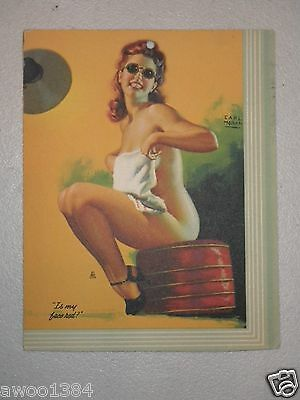 "Earl Moran Vintage Red Head Tanning Pin Up Girl ""Is my face red?"" Card"