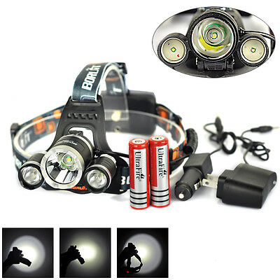 Boruit 5000Lm T6+2R5 LED Rechargeable Headlamp Head Light Torch 2x18650+Charger