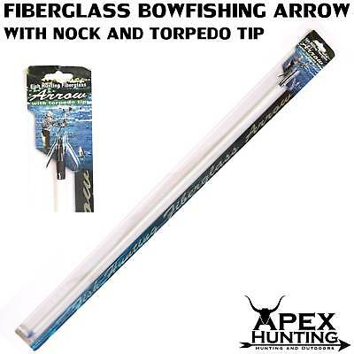 Bow Fishing Arrows - Industry Standard Fiberglass - Includes Torpedo Tip + Nock