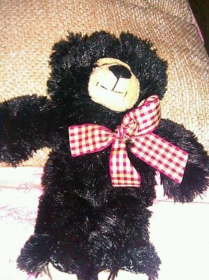 "Circus Circus Las Vegas Reno Cute Bear 10"" Black Plush Stuffed Animal Lovey"