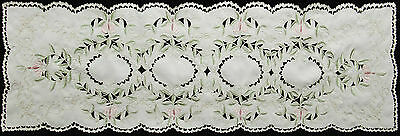 """Spring Embroidered Floral Cutwork Table Runner Dresser Scarf 15x52"""" Ivory #3589"""