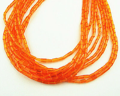 20pcs 2x4mm Cuboid glass crystal charms loose beads color orange