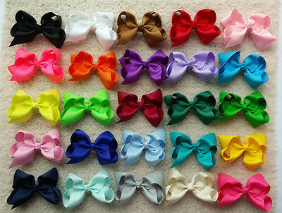 """10 PCS 4"""" Baby Girl Toddlers Boutique Hair Bows Clips Grosgrain Ribbon Flower O"""