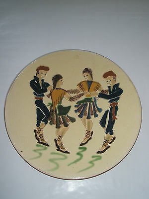 """Large 13 5/8"""" Dia Signed Puigdemont Pottery Wall Plate Dancers Spain"""