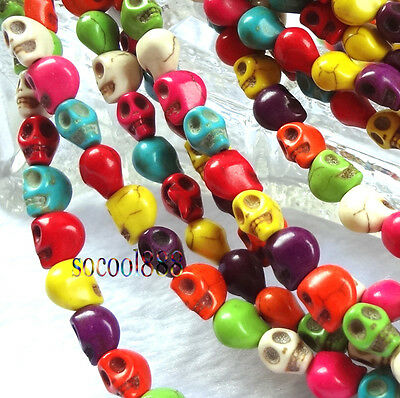 50PCS mixed color turquoise skull beads 8x6mm For jewelry making