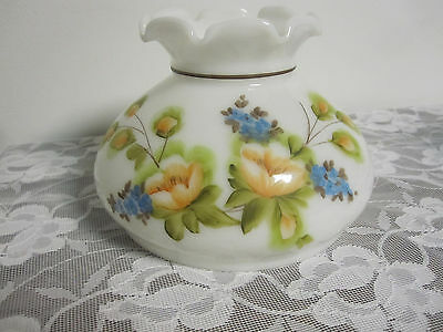 Vintage Milk Glass White Glass Oil Lamp Shade With Hand Painted Flowers Ruffled