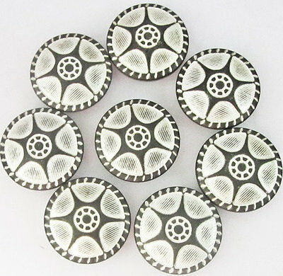 8 carved vintage like antique silver tone brass metal buttons lot 22mm #M417