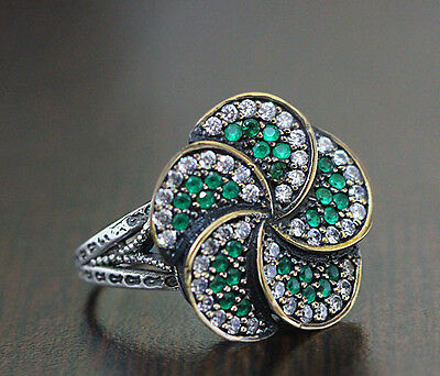 WOMEN's RING Sterling Silver 925 K Handmade with Green Jade Gemstone 9.5 US Size