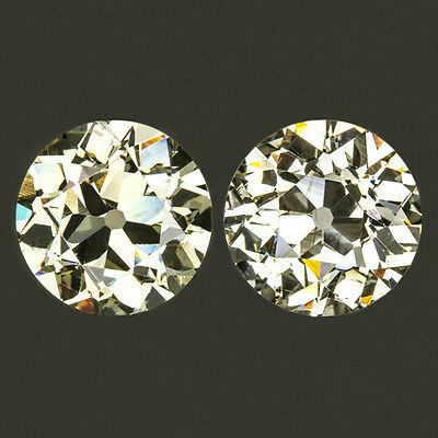 5ct VINTAGE LARGE OLD EUROPEAN CUT MATCHING PAIR STUD EARRING BIG ANTIQUE 4.84ct