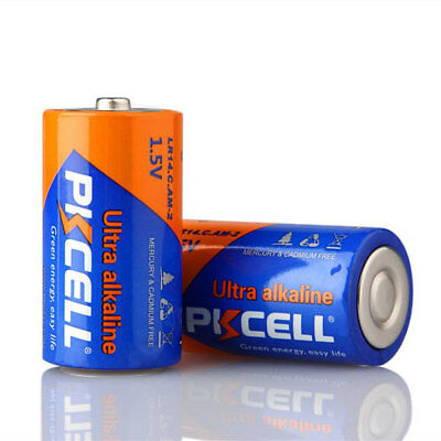 2 PKCELL C Size MN1400 LR14 1.5V Alkaline Battery Single Use Batteries for Toys