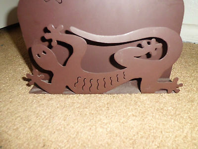 Metal Scultpure Mail or Office Organizer Gecko Design by Zorilla Nice Med. Brown