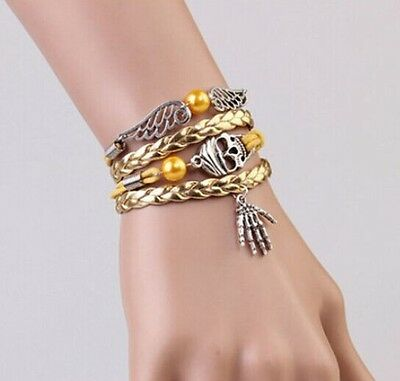NEW Hot Infinity Skeleton palm/wing Leather Cute Charm Bracelet Silver DIY SL220