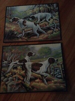 Lot Of 2 Vintage Paint By Numbers Oil Painting 2 Hunting Dog 16X 12 Nice 1950's