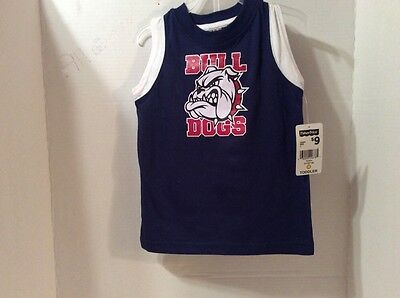 BOYS OUTFIT. FISHER PRICE. BULL DOGS. SIZE 3T. NAVY BLUE RED AND WHITE.