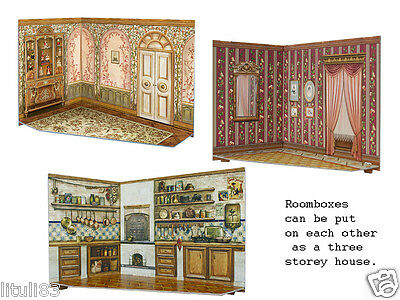 Dollhouse Miniature 1:12 RoomBoxes SET of 3:room box Kitchen,Living Room,Nursery