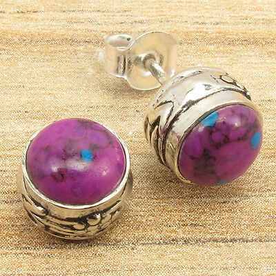 PURPLE COPPER TURQUOISE Gems Handcrafted Little Stud Earrings 925 Silver Plated