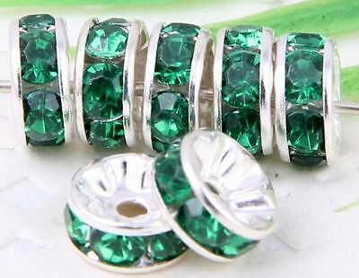 100Pcs Silver Plated Acrylic Crystals Spacer Bead 8mm Green