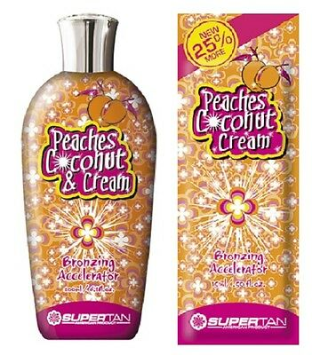 Supertan Peaches Coconut Cream sunbed tanning bronzing lotion BOTTLE or SACHET