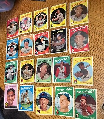 Mixed Lot of 20 Vintage Baseball Cards Topps 1950's Newly Discovered 50 years #1