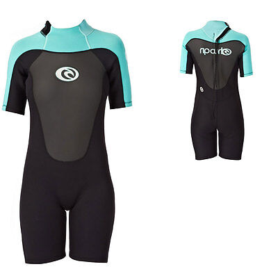 Rip Curl Omega back Zip 1.5 MM Ladies Shorty Wetsuit Black Turquoise