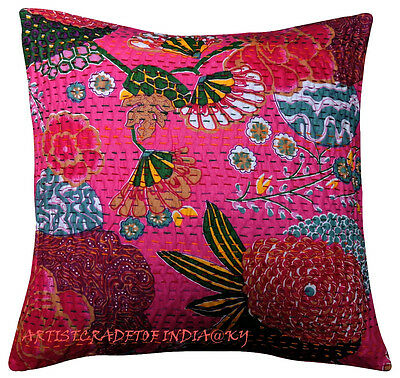 """16"""" INDIAN KANTHA CUSHION COVER HANDMADE DECORATIVE VINTAGE FLORAL PINK PILLOW 2"""