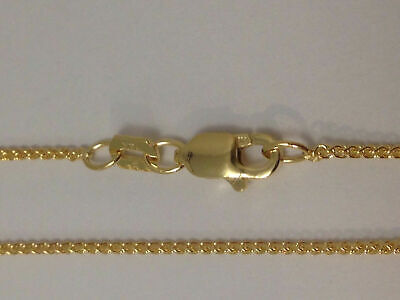 "14Kt 14K Yellow 15 16 18 20"" .7mm Solid Gold Round Wheat Necklace Chain Lobster"