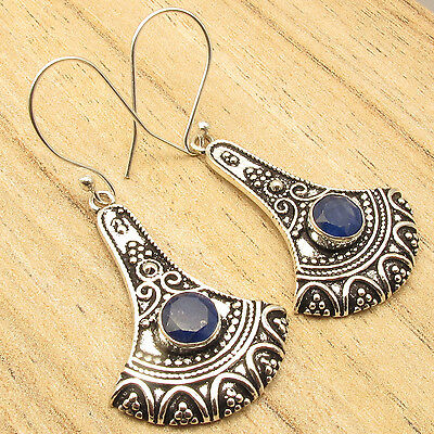 """Natural SAPPHIRE OXIDIZED Designer Earrings 2 """" ! 925 Silver Plated eBay VINTAGE"""