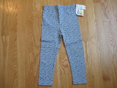 COLOR & CO GIRL'S SIZE 4 LEGGINGS GRAY W/ BLUE CALICO FLOWERS MADE IN USA NWT !