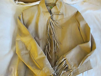 Don't Mess With Texas tan leather fringe western jacket, size L, Great condition