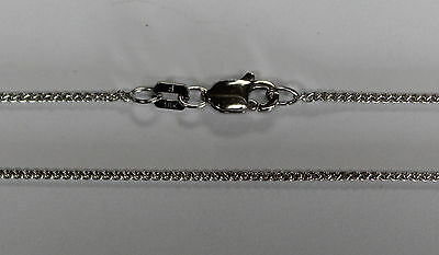 """18Kt 18K White Solid Gold 16"""" 18"""" 1mm Round Wheat Necklace Chain Lobster"""