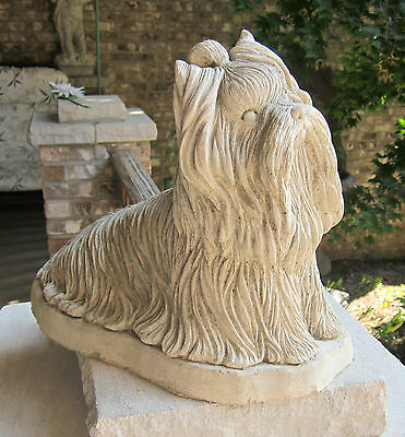 LIFE SIZE CONCRETE YORKSHIRE TERRIER STATUE OR MONUMENT