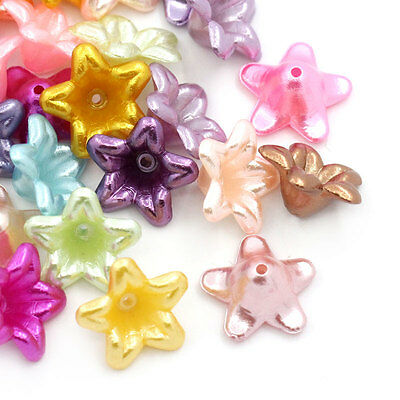 200PCs Hot Sell Mixed Flower Acrylic Spacer Beads 13x13mm