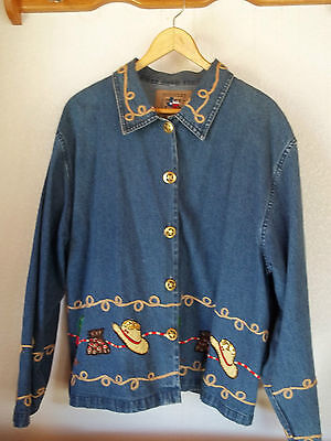 Don't Mess with Texas Brand Woman's Size XL Western Pattern Denim Jacket