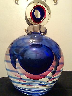 Vintage Submerged Art Glass Perfume Bottle Unsigned Pink ~ Blue