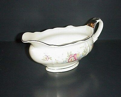 Bavaria Germany Gravy Boat Porcelain Flowers Silver Trim
