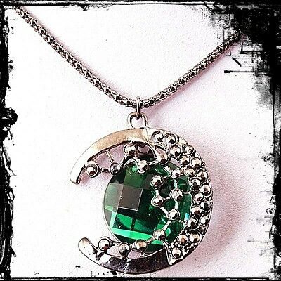 GREEN gemstone moon CELTIC FLOWER FAERIE PENDANT haunted witch owned