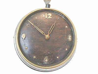 "Vintage Wood Case Brass Bound Barrel Shaped Battery Movement Wall Clock 8""D"