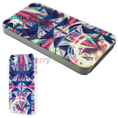 Symmetrical Triangle Colorful Design Hard Back Bumper Case Cover for iPhone 4 4S