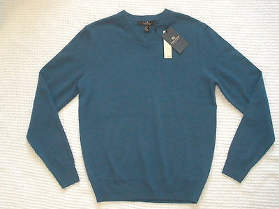 NWT DANIEL BISHOP Small 100% CASHMERE Blue Mix V-Neck Long Sleeve Sweater