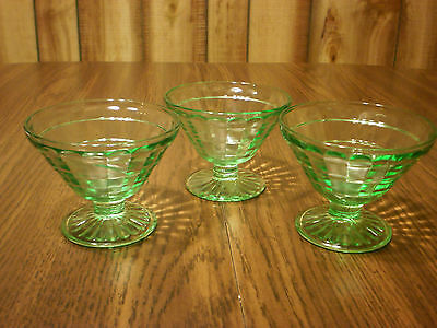 GREEN DEPRESSION Glass Sherbets BLOCK OPTIC Pattern Set of 3